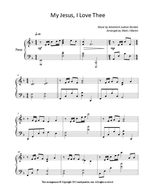 New Piano Solo - My Jesus, I Love Thee - Mark J Martin